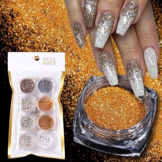 Afbeeldingen van Glitter Poeder Nail art set Diverese kleuren Goud/zilver/ wit
